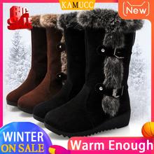 Kobiety zimowe buty stado zimowe buty damskie moda śnieg buty buty udo wysokie zamszowe połowy łydki buty tanie tanio KAMUCC Pasuje prawda na wymiar weź swój normalny rozmiar Okrągły nosek Zima Slip-on Stałe Mieszkanie z Buty śniegu
