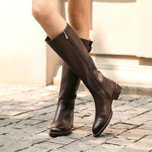 Image 2 - Beautoday botas longas mulheres de couro vaca dedo do pé redondo zíper fecho fivela joelho botas altas inverno moda senhora sapatos feitos à mão 01215