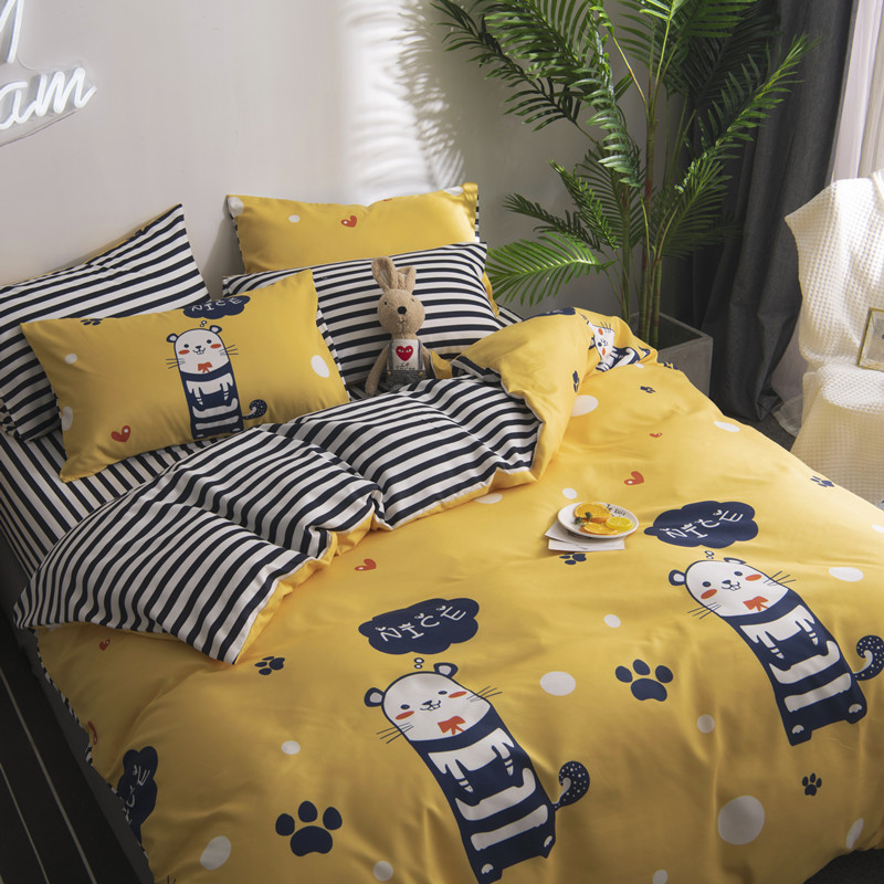 European Style Full King Queen Size Bedding Quilt Cover Home Textile Spring And Autumn Plaid Bedding Sets Duvet Cover Sheet Bed - 3