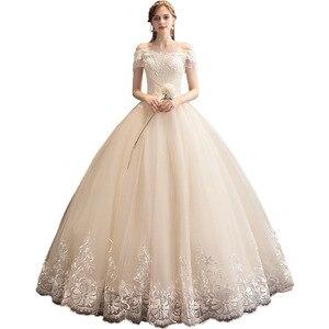 Image 1 - קלאסי שמפניה 2019 חדש חתונת שמלה אלגנטי סירת צוואר כבוי כתף תחרה ואגלי טאסל Slim כדור שמלת חלוק דה mariee