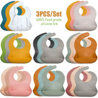 3pcs/lot Baby Feeding Silicone Bib,Soft Unsix Baby Feeding Colorful Infant Drooling Scarf Aprons Baby Stuff For Newborns