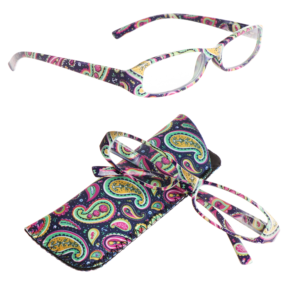 New Fashion Striped Reading Glasses Presbyopia Resin Lens Eyeglasses With Bag Colorful +1.0~+4.0 Red/Blue/Purple