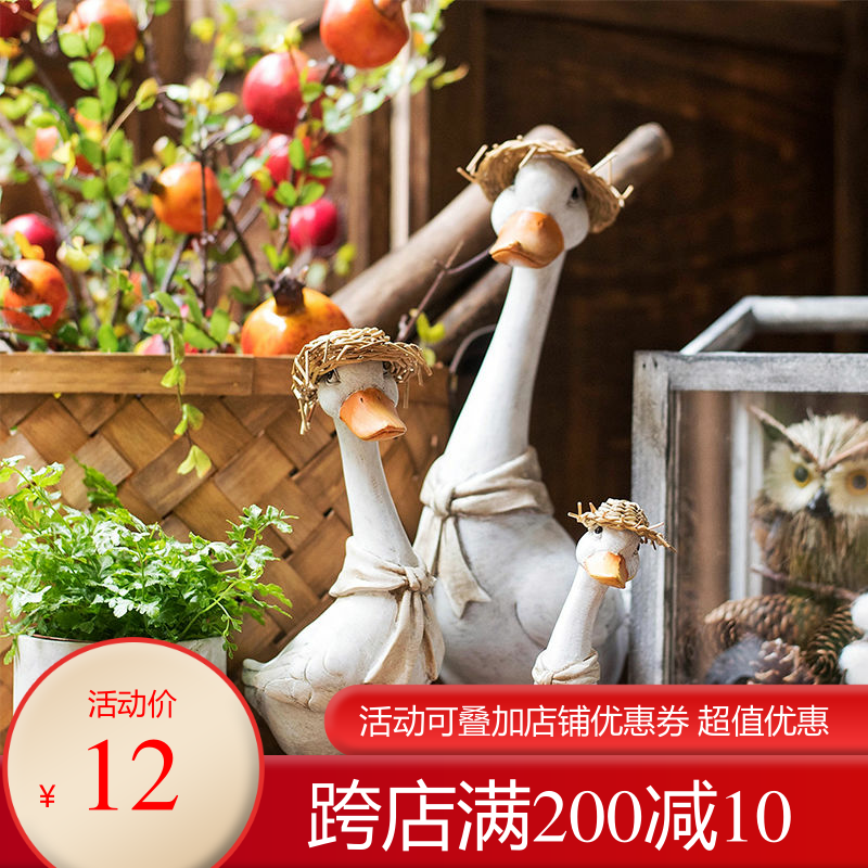 wedding decoration Lovely Dumeng Series Pastoral Desktop Arrangements Resin Straw Cap Duck Balcony Garden Decoration