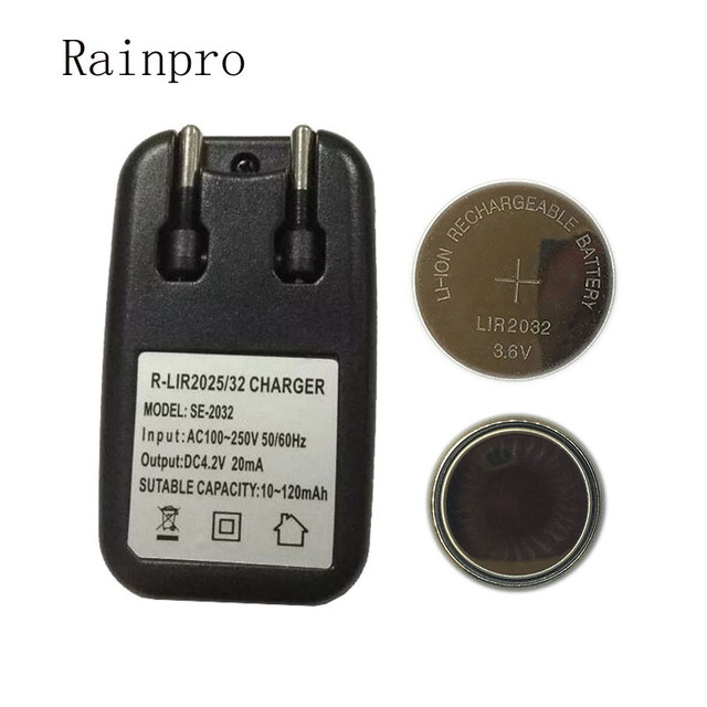 Rainpro 1set/lot (2PCS LIR2032+1PCS charger) 3.6V Rechargeable coin cell lithium battery