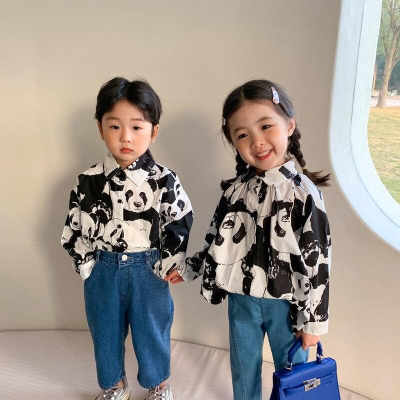 MILANCEL, новинка весны 2021, Детские рубашки с длинным рукавом, милые рубашки с принтом панды
