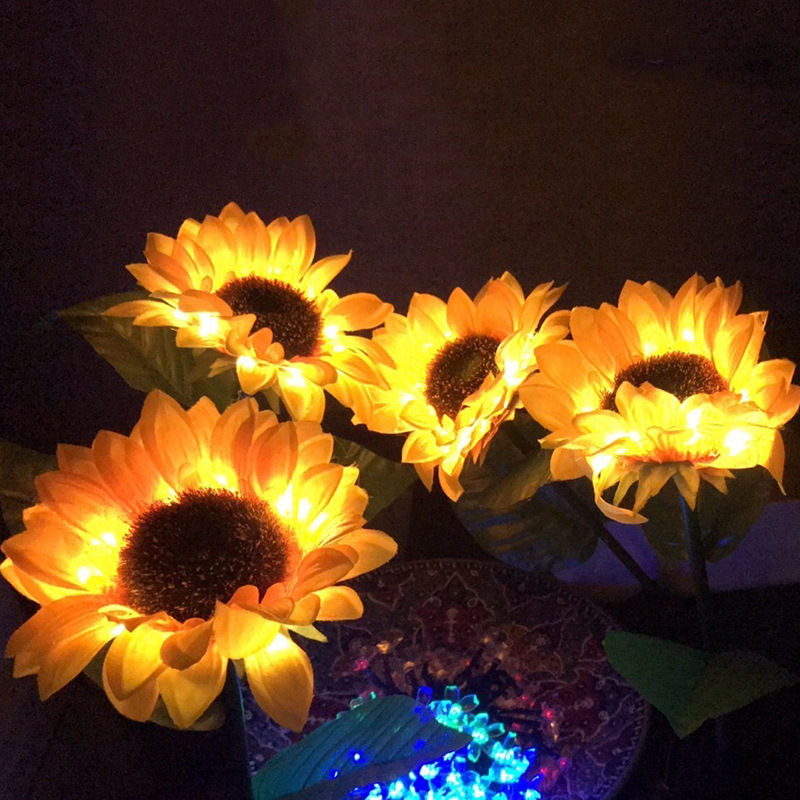 LED Solar Sunflower Ground Lamp Outdoor Waterproof Garden Solar Sunflower Lawn Lamp solar lights for garden decoration