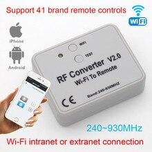 Uniwersalny konwerter RF WIFI do zdalnego sterowania 300 868mhz Android IOS RF pilot WIFI sterowanie 433mhz 868mhz 330mhz 315mhz Universa