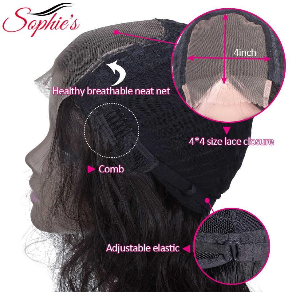 Sophie'nin brezilyalı vücut dalga 4*4 dantel kapatma peruk ile öncesi koparıp bebek saç olmayan Remy dantel kapatma İnsan saç peruk