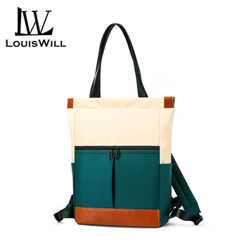 LouisWill Fashion Women Backpack Nylon Woman Bag Waterproof Multi-function Contrast Candy Color Shoulder Bags Sling Bag