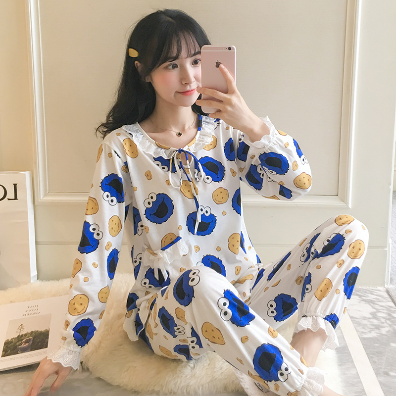 Pajamas Women's Spring And Autumn Blue Sesame Street Long Sleeve Pure Cotton Princess Style Two-Piece Set Cute Students Winter H