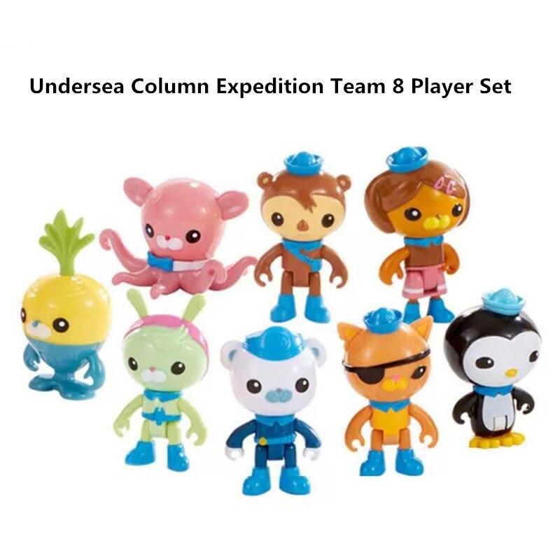 8 Pieces / Set Octonauts Action Character Toy Cartoon Anime Doll Captain Buck Adventure Team Scene Decoration Model Toy Kid Gift