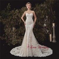 Vestido de novia 2020 Sweetheart Lace Wedding Dress Nude Lining Mermaid Luxury Bridal Wedding Gown Elegant Boho bridal Gown
