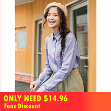 INMAN literary style embroidered cotton linen shirt women long sleeves blouse all-match tops