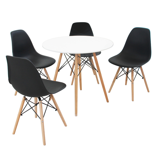 A set of four Nordic medieval retro style dining chairs, solid wood feet, beech wood, suitable for kitchen, dinings room 3