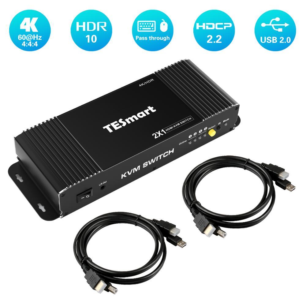 HDMI KVM Switch 2 Port 4K Ultra HD 2x1 HDMI KVM Switcher With 2 Pcs 5ft KVM Cables Supports Mechanical And Multimedia KVM USB2.0