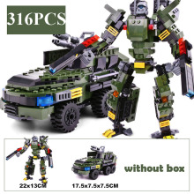 GUDI Car Figure Transform Robot 3in1 Vehicle Classic War Chariot Building Blocks Legoingly Toys For Children