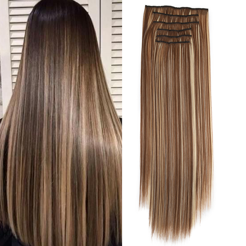 ZM 6pcs/Set 16 Clips In Hair Extensions Straight Natural Hair Clip Ins Synthetic Clip In Hair Extensions For Women Hairpiece
