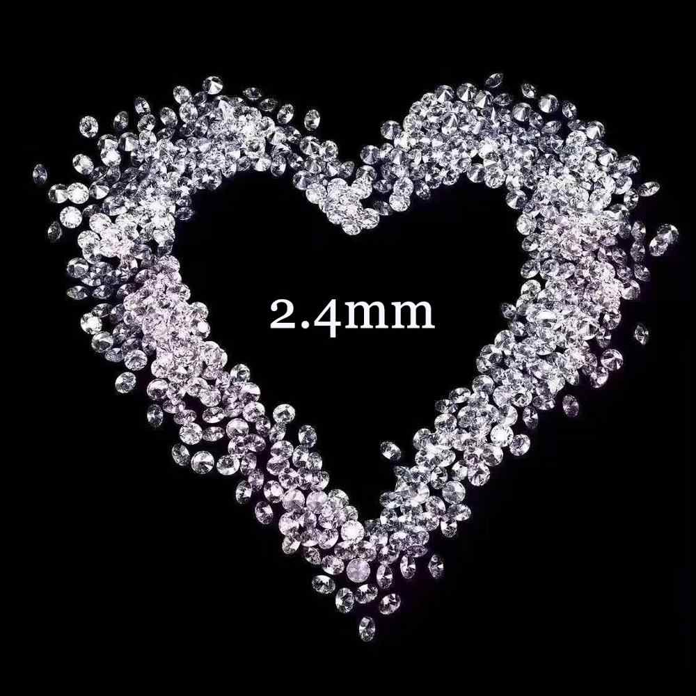 "2.4mm Loose moissanite FG צבע יהלומי מעבדה על העגול cut Loose חרוזים להכנת תכשיטים סה""כ 1.0 קראט 20pcs"