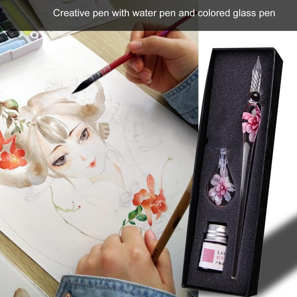 Glass Dip Crystal Pen Signature Ink Inside Flower For Writing Art Decoration Transparent Fountain Pen Gold Pastel Ink Signature