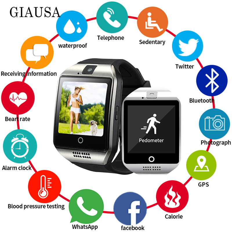 Bluetooth Smart Watch Men Q18 With Touch <font><b>Screen</b></font> <font><b>Big</b></font> Battery Support NFC TF Sim Card Camera for Android Women Camera <font><b>Smartwatch</b></font> image