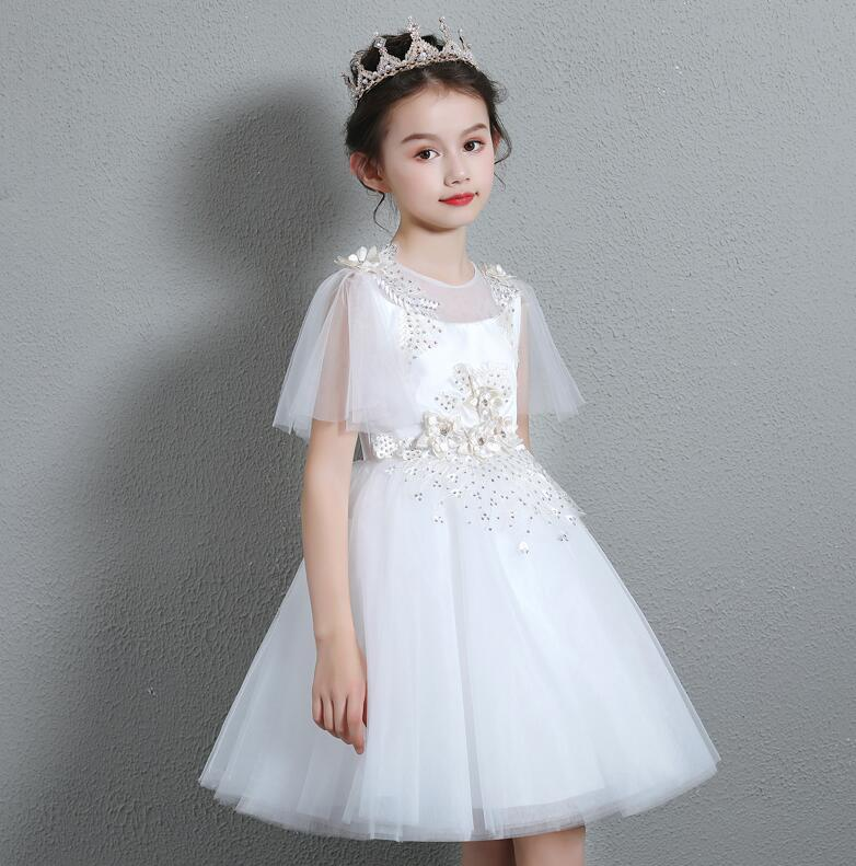 Embroidery Lace Appliques Flower Girl Dresses for Wedding Party Elegant Lace Sleeve Kids Princess Gown First Communion Clothes