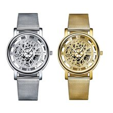 Skeleton MenS Luxury Full Steel Wrist Watches Hollow Non-Mechanical Wa