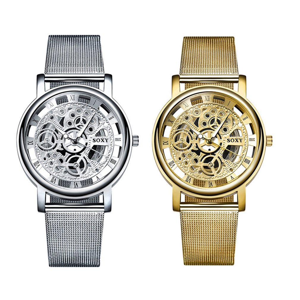 Skeleton Men'S Luxury Full Steel Wrist Watches Hollow Non-Mechanical Watch Steel Mesh With Double Men'S Watch