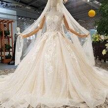 Vestidos de novia sin tirantes LS963624 con velo sin mangas con flores vestidos de novia color champán con el tren de las piezas
