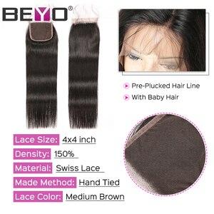 Image 4 - Beyo הודי ישר שיער חבילות עם סגירת 3 חבילות עם סגירת ללא רמי שיער טבעי חבילות עם סגירת הארכת שיער