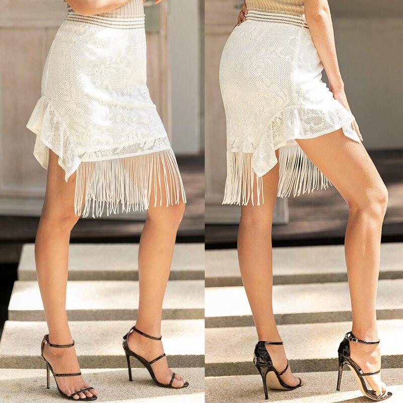 Women's Skirt Summer Tassel Irregular Hem High Waist Stretch Bag Hip Skirt