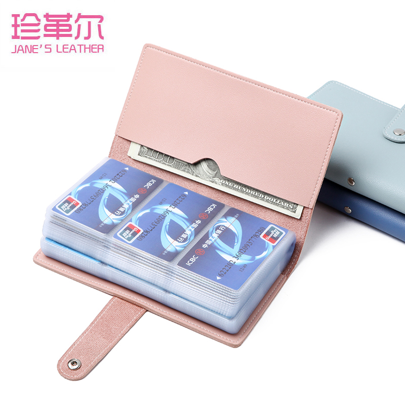 JANE'S LEATHER 96 Slots Fashion Women Men Business Cards Wallet Case Credit ID Bank Card Holder Wallet Femme Carteira Mujer 2019