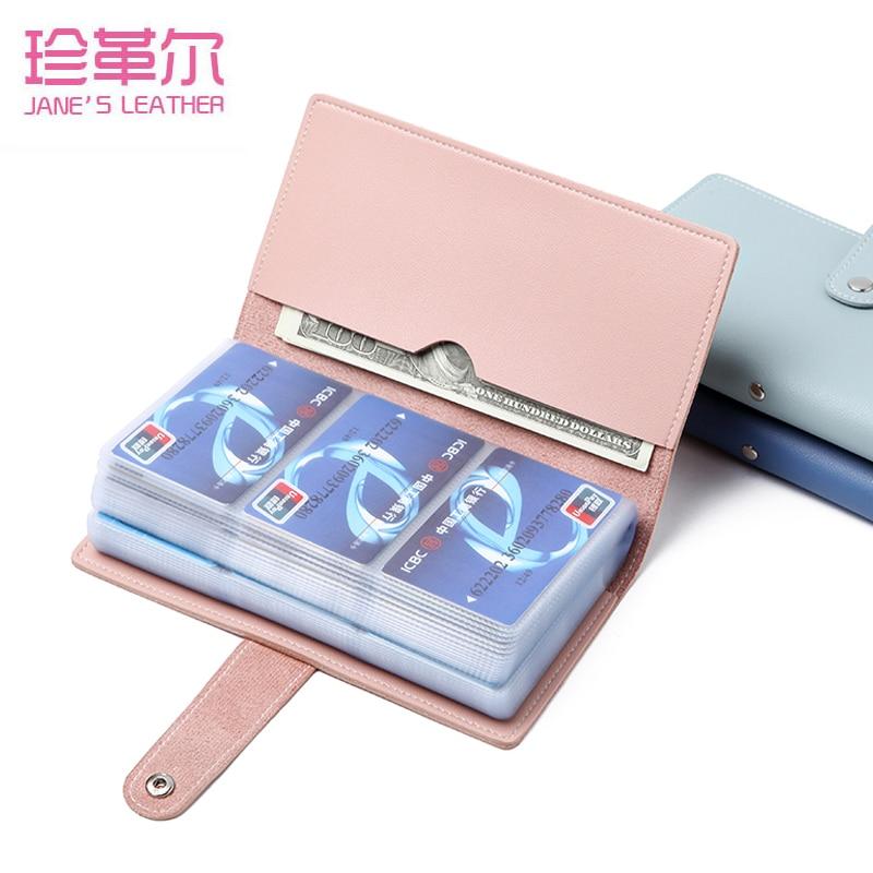 JANE'S LEATHER 96 Slots Fashion Women Men Business Cards Wallet Case Credit ID Bank Card Holder Wallet Femme Carteira Mujer 2019