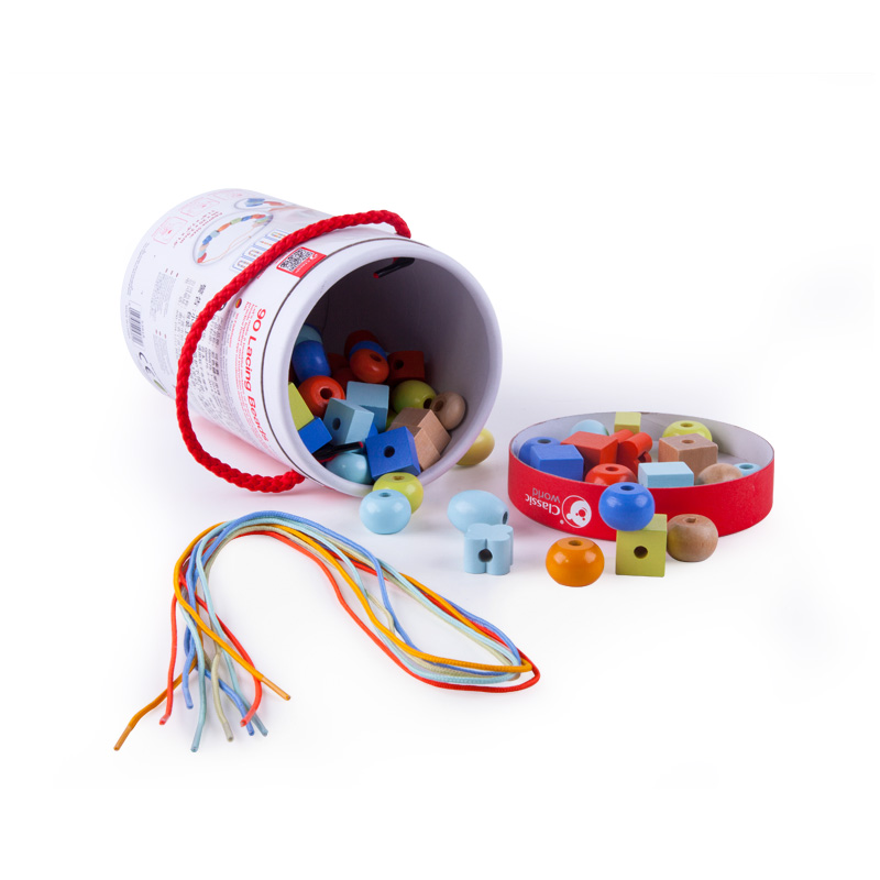 Children Beaded Early Educational Wooden Toys For Boys Girls Wear Beads 3-6 Years Old Wearing Rope Wood Environmental Protection