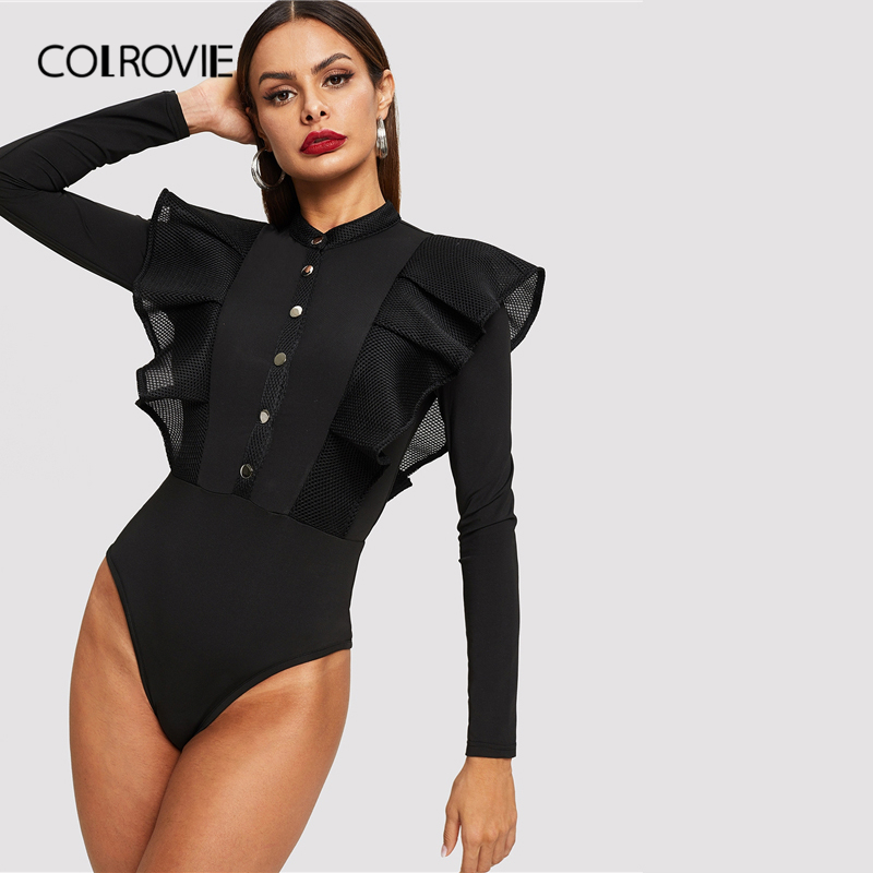 COLROVIE Black Button Front Fishnet Mesh Trim Ruffle Bodysuit Women Solid Bodysuit 2019 Fall Sexy Stand Collar Skinny Bodysuits