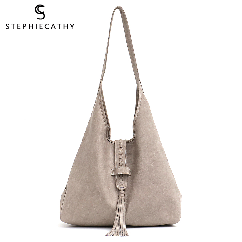SC Brand High Quality Cow Leather Shoulder Bag For Women Fashion  Tassel Design Ladies Large Hobo Genuine Leather Female HandbagsShoulder  Bags