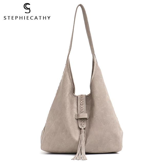 SC Brand High Quality Cow Leather Shoulder Bag For Women Fashion Tassel Design Ladies Large Hobo Genuine Leather Female Handbags