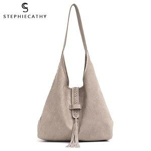 Image 1 - Scブランド高品質の牛革ショルダーバッグ女性のファッションタッセルデザイン女性ラージホーボー本革女性のハンドバッグ