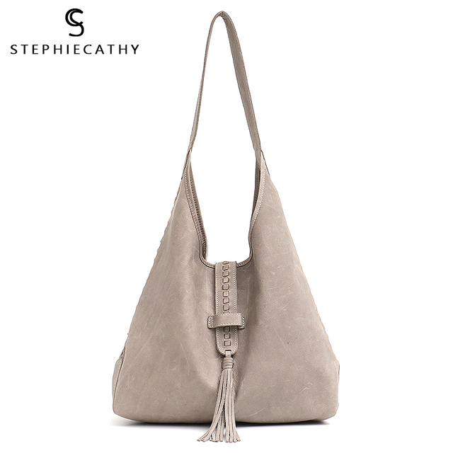 Scブランド高品質の牛革ショルダーバッグ女性のファッションタッセルデザイン女性ラージホーボー本革女性のハンドバッグ