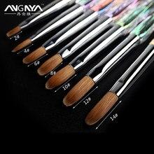 ANGNYA – brosse à ongles acrylique 12 #14 #, outil de manucure pour le Nail Art, le Sable Kolinsky, le Gel UV constructeur, le diamant plat, rond, le manche dégradé