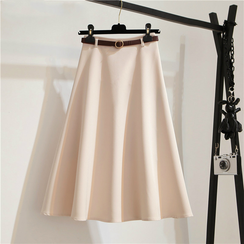 Summer Sashes A-line Skirts Womens Solid Elegant Tutu Skirt Women Office Lady Umbrella Midi Skirt Vintage Ladies Clothing 2020