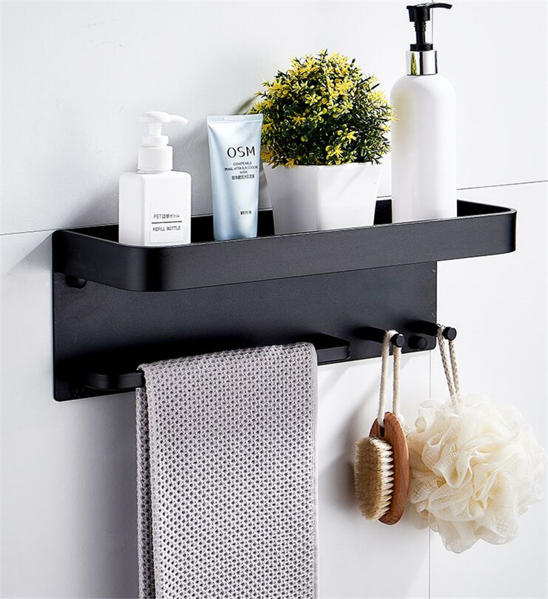 2021 Bathroom Shelf Aluminum Black Corner Shelf Square Bath Shower Shelf Wall Mounted Storage Organizer Rack With Hooks And Towel Bar From Showerset 32 57 Dhgate Com