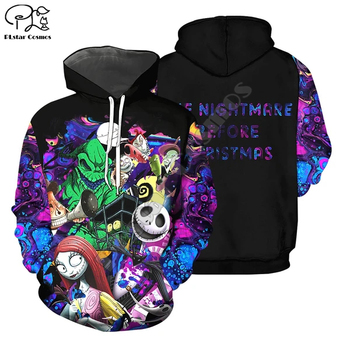 PLstar Cosmos Halloween Nightmare before Christmas jack skellington Horror 3Dprint Men/Women Hoodies Funny Pullover Harajuku A16