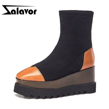 ZALAVOR 2020 New Arrival Fashion Lady Ankle Boots Genuine Leather Platform High Heel Shoes Woman Short Boot Footwear Size 34-39