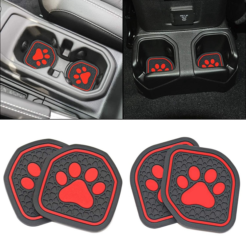 TOP -Cup Holder for Jeep Wrangler JL JLU 2018-21 Sport Rubicon 2020-21 Gladiator JT Interior Cup Liner Insert Coaster Mat Pad