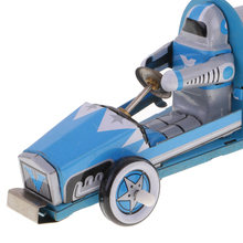 Blue Classic Race Car Racer Tin Toy Collectible Clockwork Kids Wind Up Toys