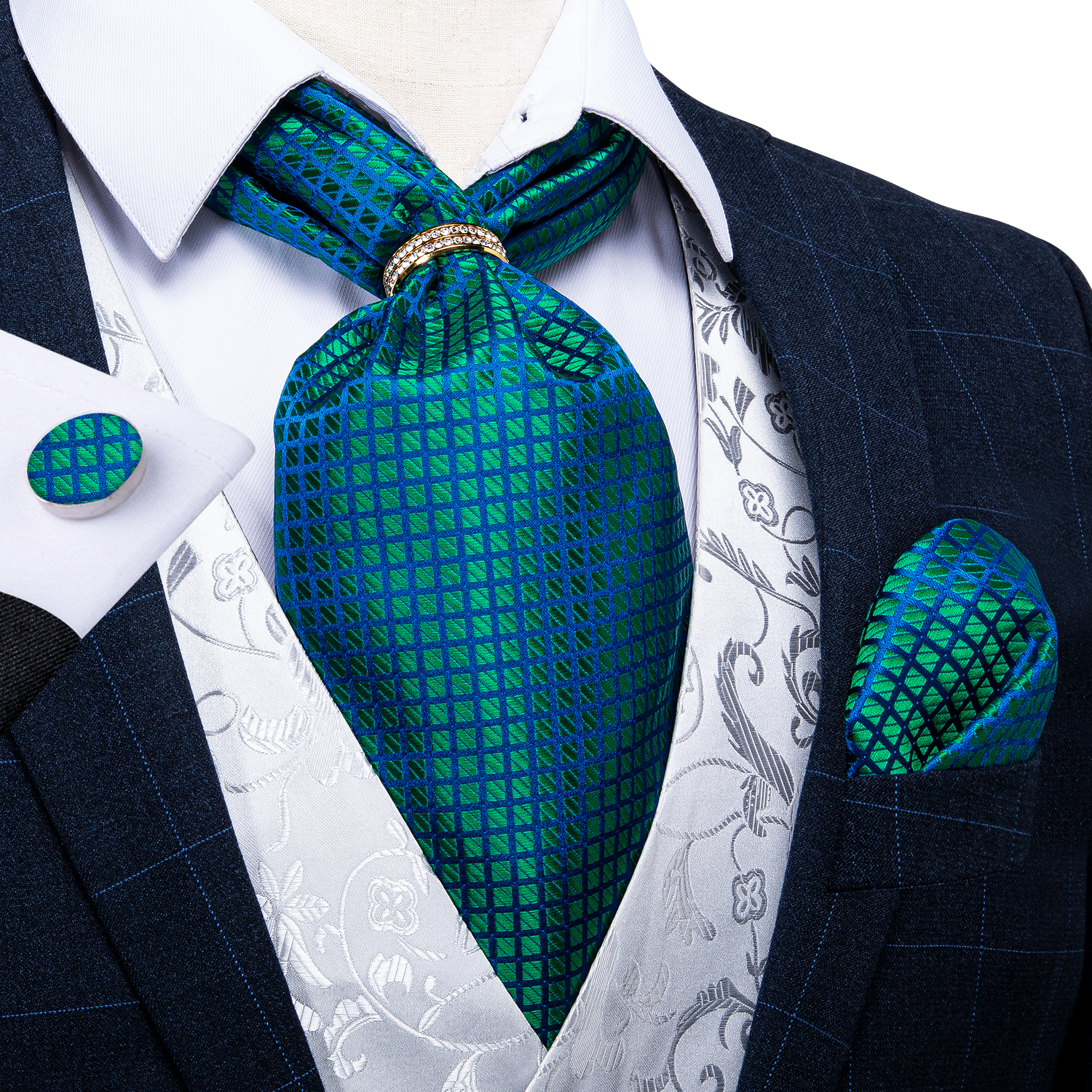 Men Vintage Teal Green Check Wedding Formal Cravat Ascot Gentleman Man Silk Neck Tie Silver Gold Ring Pocket Square Set DiBanGu