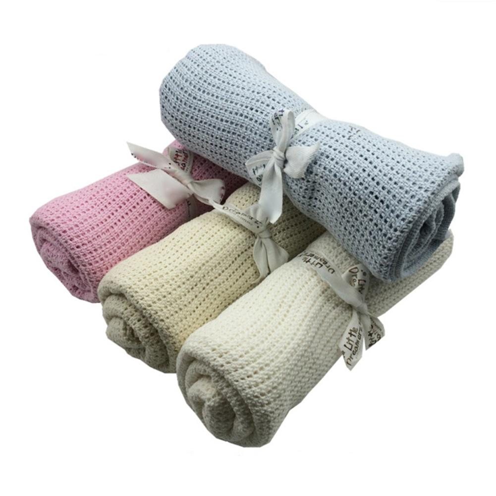 Fashion Baby Newborn Soft Warm Cotton Solid Color Knitted Crochet Rectangle Blankets
