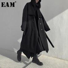 [EAM] Trench lungo da donna imbottito in cotone di grandi dimensioni nuovo risvolto manica lunga vestibilità ampia giacca a vento moda primavera autunno 2021 19A-a702