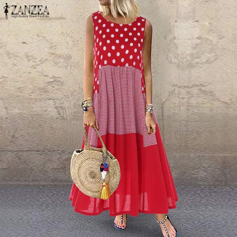Women's Bohemian Ruffle Sundress 2020 ZANZEA Summer Sleeveless Floral Printed Maxi Long Dress Casual Loose Party Tanks Vestido 2