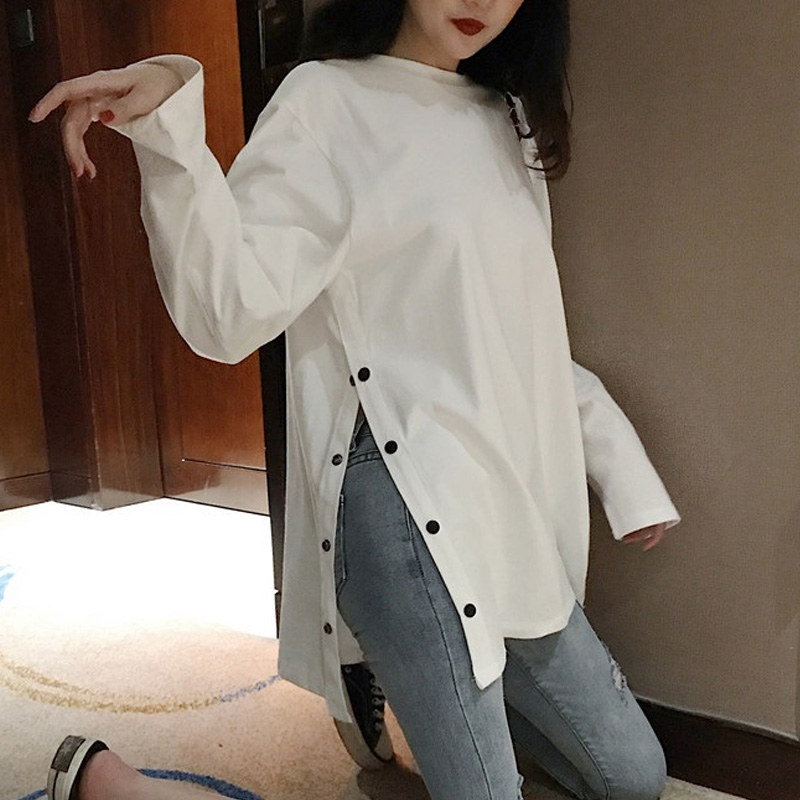 Split Side Button White Black Long Tshirt O-Neck Women Shirts Autumn New Arrival Vogue Harajuku Solid Loose T Shirt Tops 2019